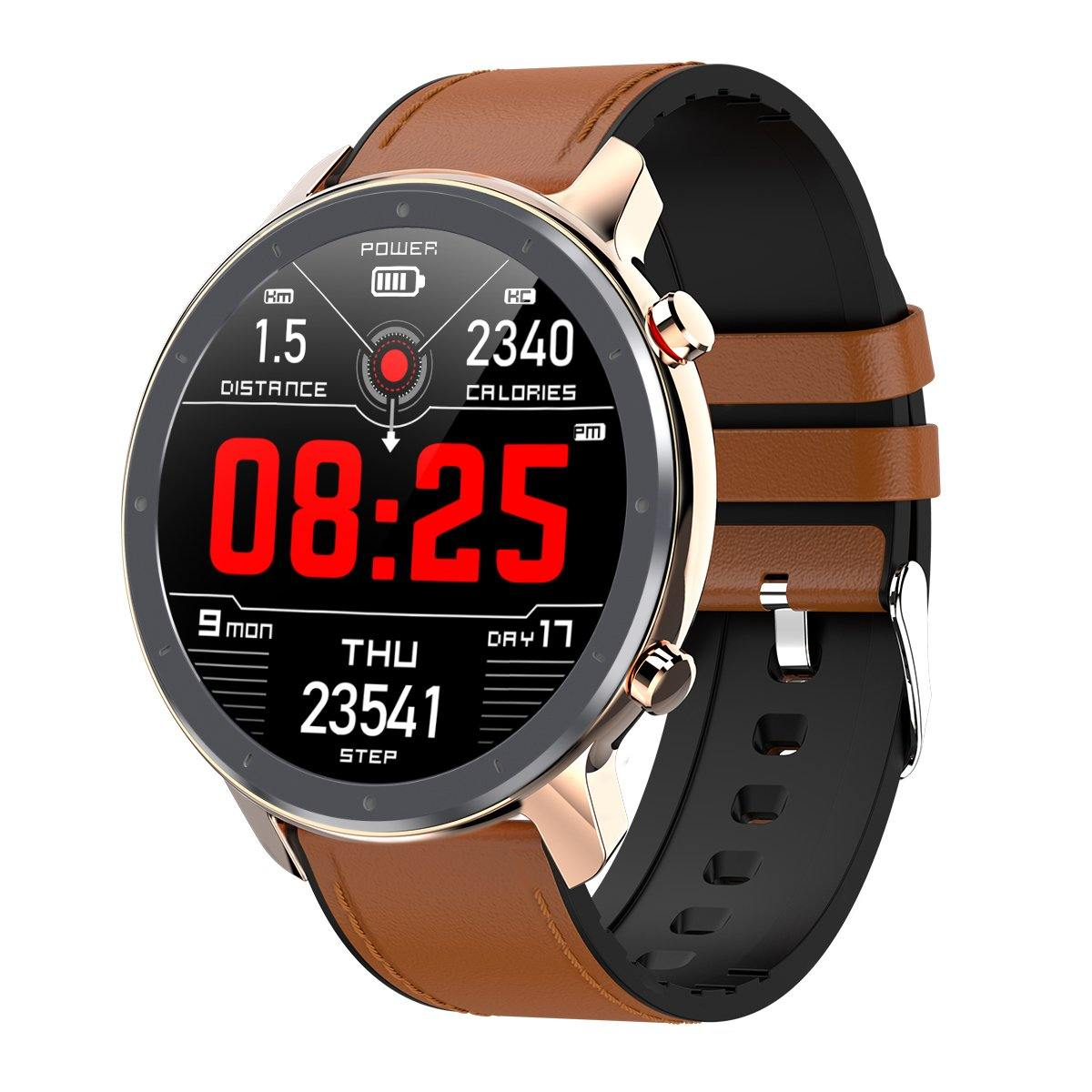 Microwear L11 Fitness/Smartwatch - Brown Leather