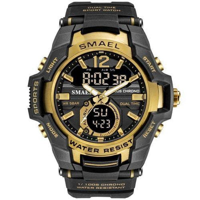 Smael Gold Alloy Dual Time Watch