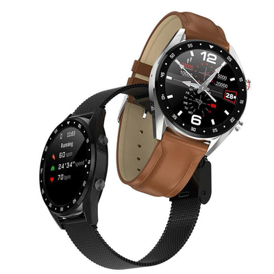 Microwear L7 Fitness/Smartwatch -Brown Leather - Silver Back