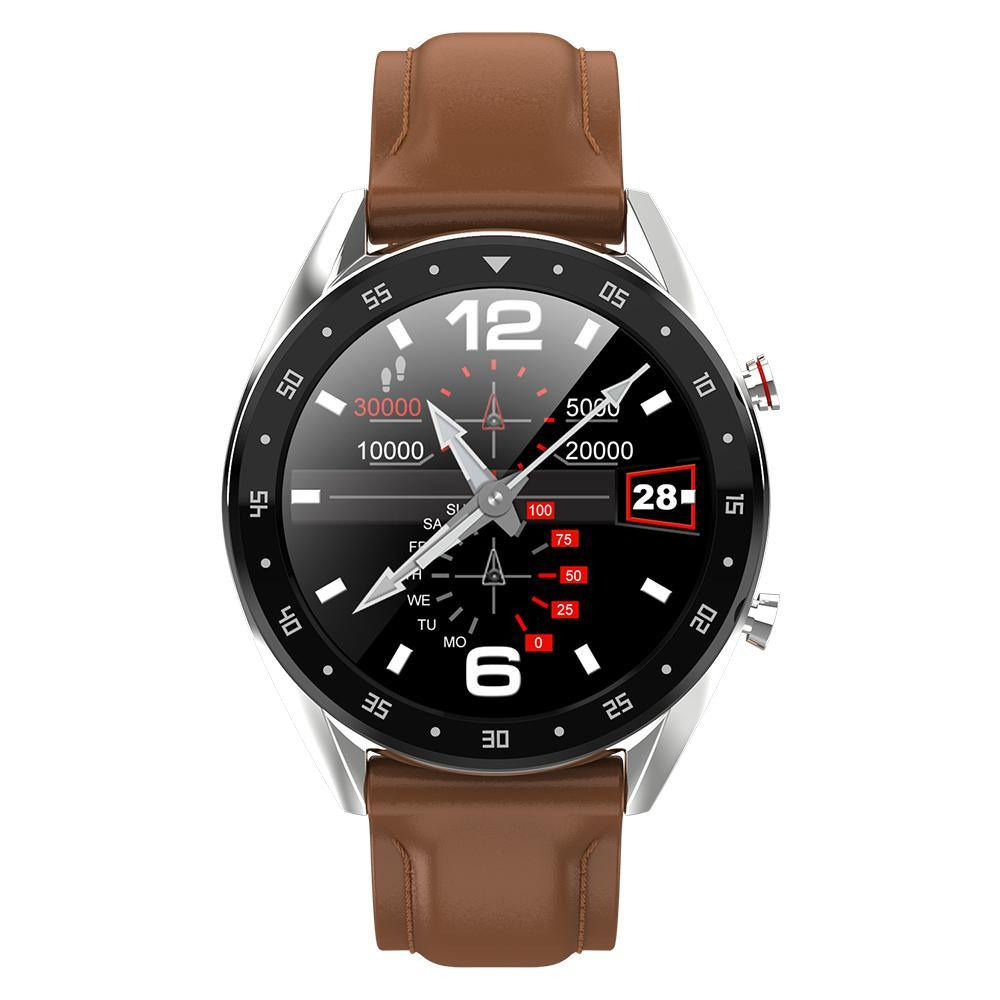 Microwear L7 Fitness/Smartwatch -Brown Leather