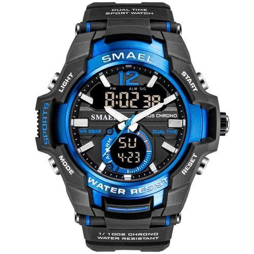 Smael Blue Alloy Dual Time Watch