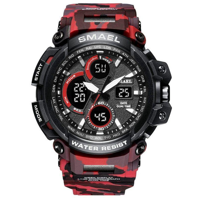 Smael Camouflage Red Chronograph Watch