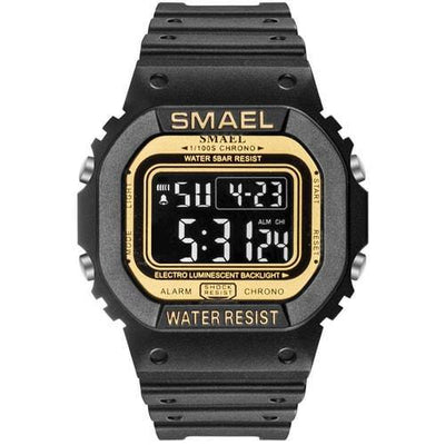 Smael Black & Gold Retro Digital Watch