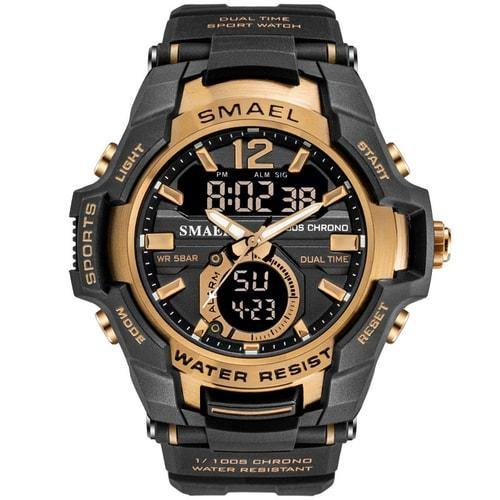 Smael Rose Gold Alloy Dual Time Watch
