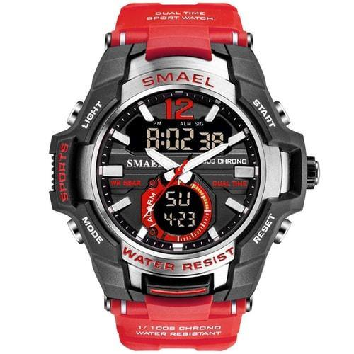 Smael Red Alloy Dual Time Watch