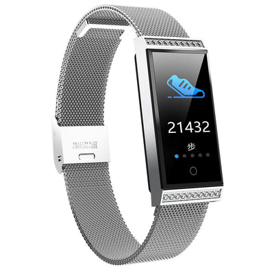 Microwear X11 Smart Fitness Bracelet Watch - Silver Mesh