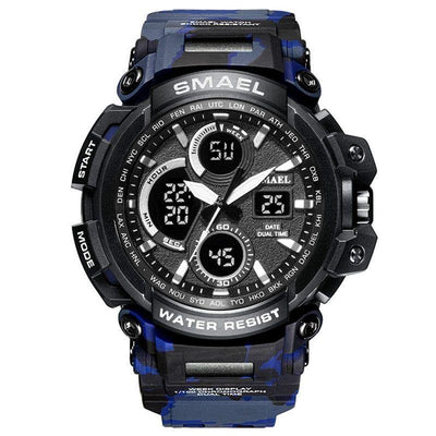 Smael Camouflage Blue Chronograph Watch
