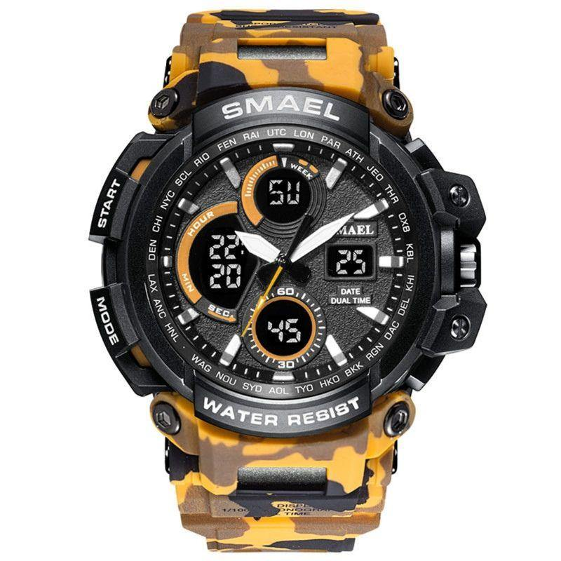Smael Camouflage Yellow Chronograph Watch