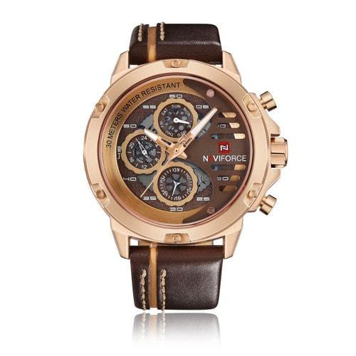 NaviForce 9110 Gold Executive Leather Watch-NaviForce South Africa-Smael South Africa