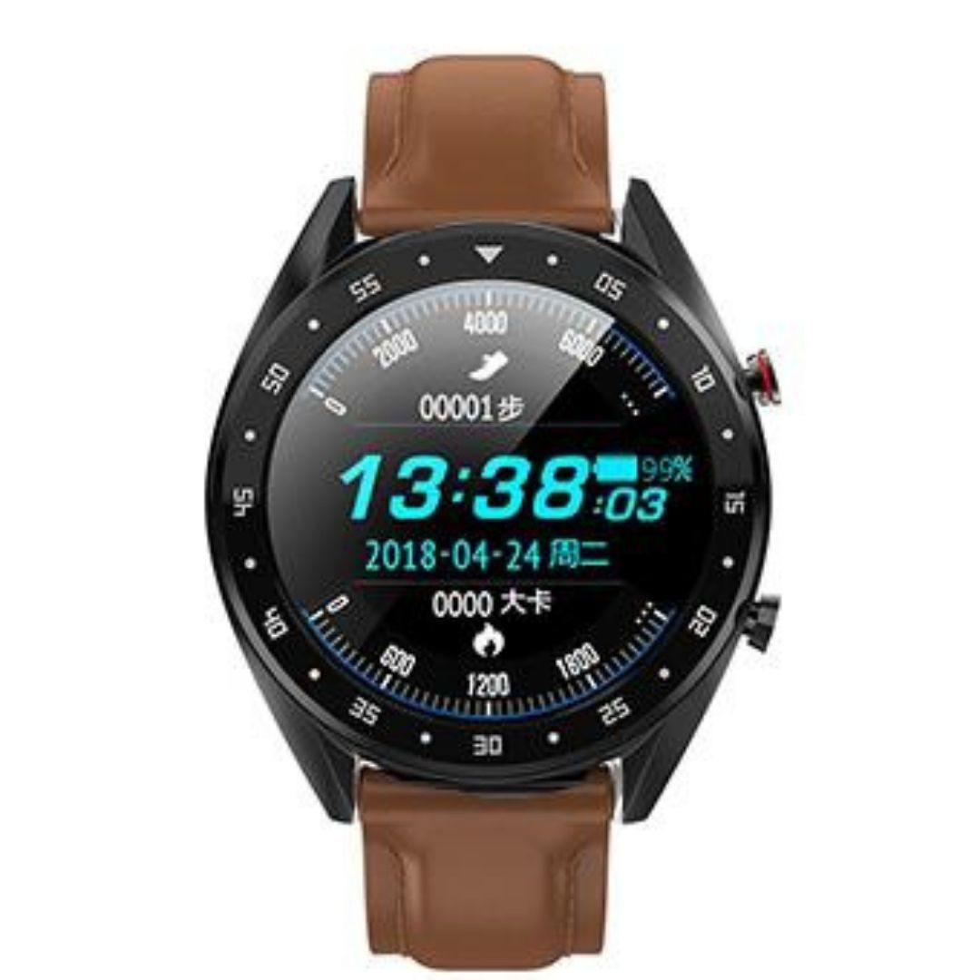 Microwear L7 Fitness/Smartwatch -Brown Leather - Black Back