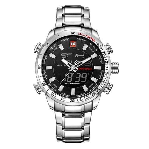 NaviForce 9093 Silver and White Digital/Analog Executive Watch-NaviForce South Africa-Smael South Africa