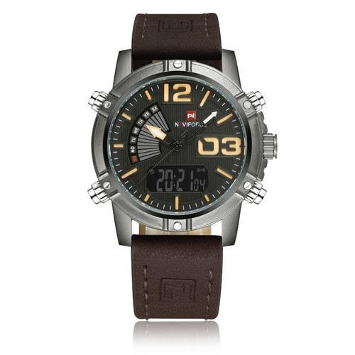 NaviForce Dark Brown & Gun Metal 9095 Leather Watch-NaviForce South Africa-Smael South Africa