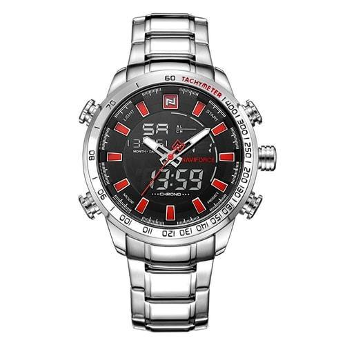NaviForce 9093 Silver and Red Digital/Analog Executive Watch-NaviForce South Africa-Smael South Africa