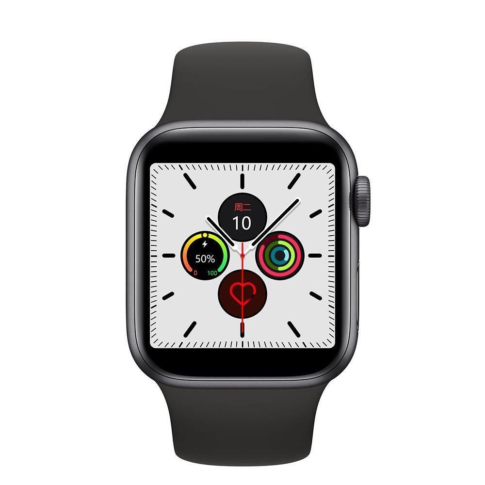 Microwear Watch 7M Fitness/Smartwatch - Black Silicon