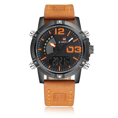 NaviForce Black & Light Brown 9095 Leather Watch-NaviForce South Africa-Smael South Africa