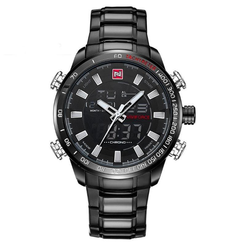 NaviForce 9093 Black and WhiteDigital/Analog Executive Watch-NaviForce South Africa-Smael South Africa
