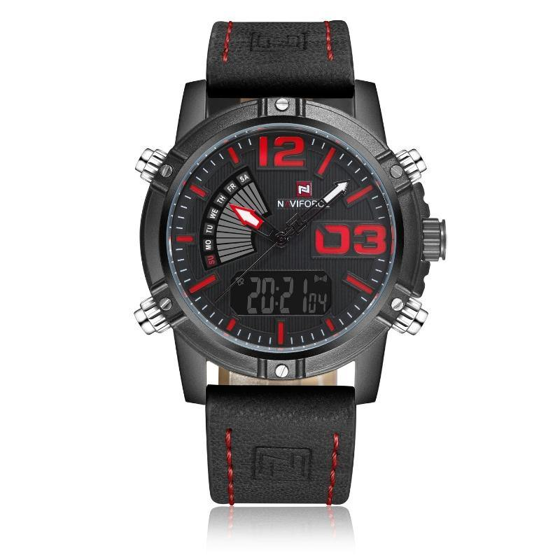 NaviForce Black & Red 9095 Leather Watch-NaviForce South Africa-Smael South Africa