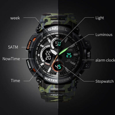 Smael Camouflage Army Green Chronograph Watch