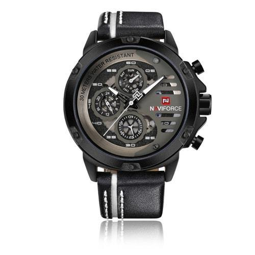 NaviForce 9110 Silver & Black Executive Leather Watch-NaviForce South Africa-Smael South Africa