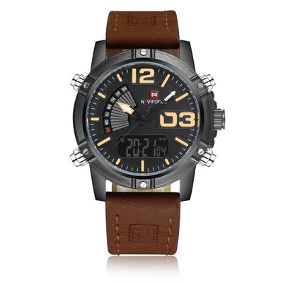 NaviForce Dark Brown 9095 Leather Watch-NaviForce South Africa-Smael South Africa