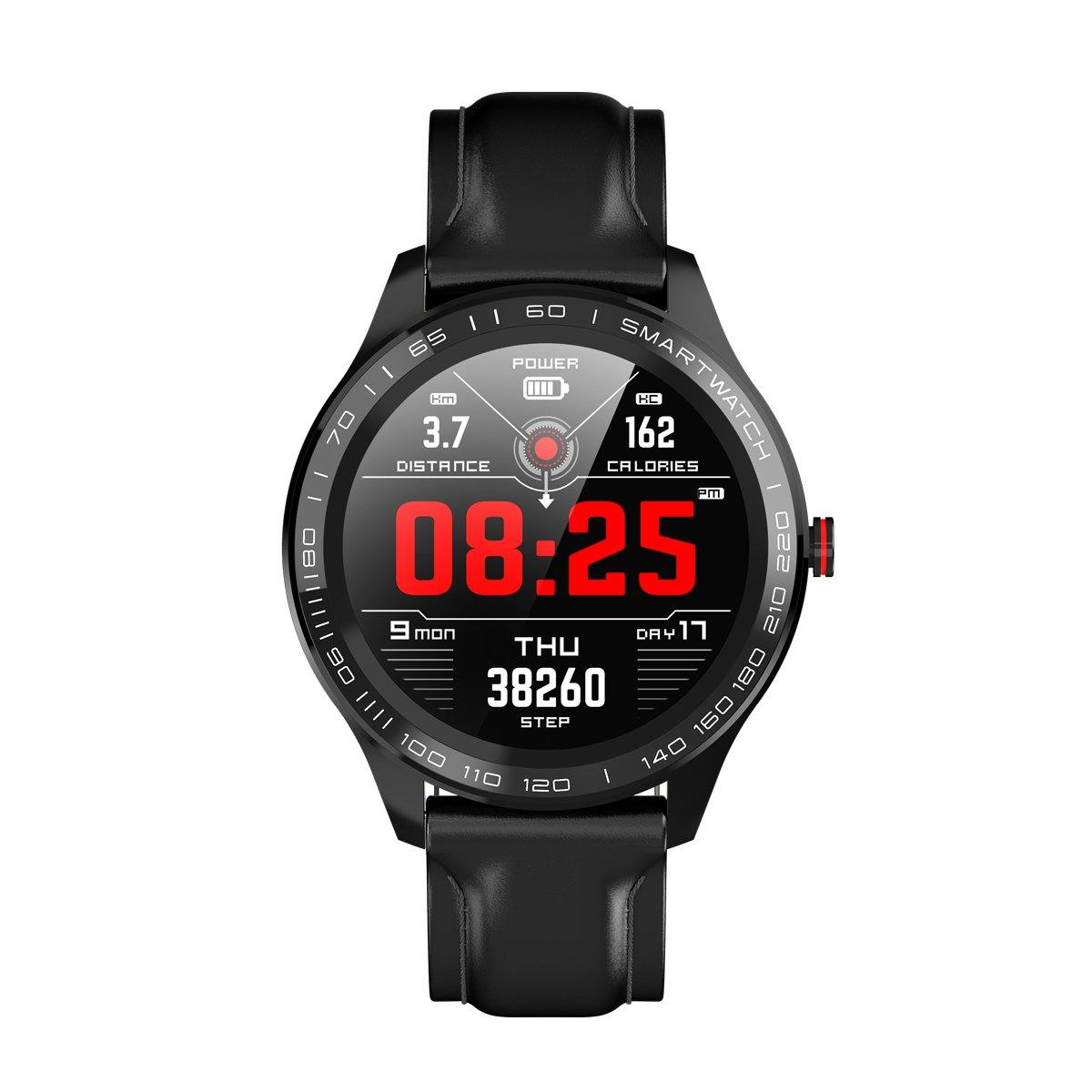 Microwear L9 Fitness/Smartwatch - Black Leather