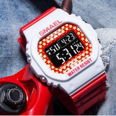 Smael Denim White and Red Retro Digital Watch