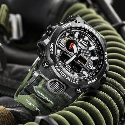 Smael 1545D Camouflage Army Green Multifunctional Watch