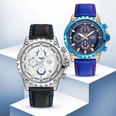 Smael 9105 Leather Watch - Blue