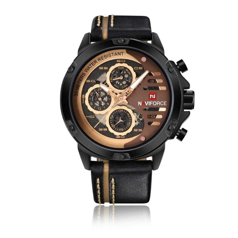 NaviForce 9110 Gold & Black Executive Leather Watch-NaviForce South Africa-Smael South Africa