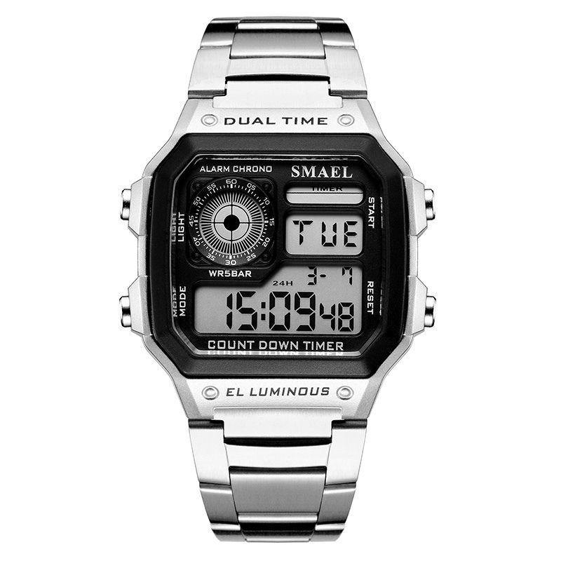 Smael 1818 Retro Style Watch - Silver