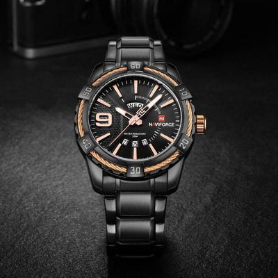 NaviForce 9117S Black/Gold Analog Executive Watch-NaviForce South Africa-Smael South Africa