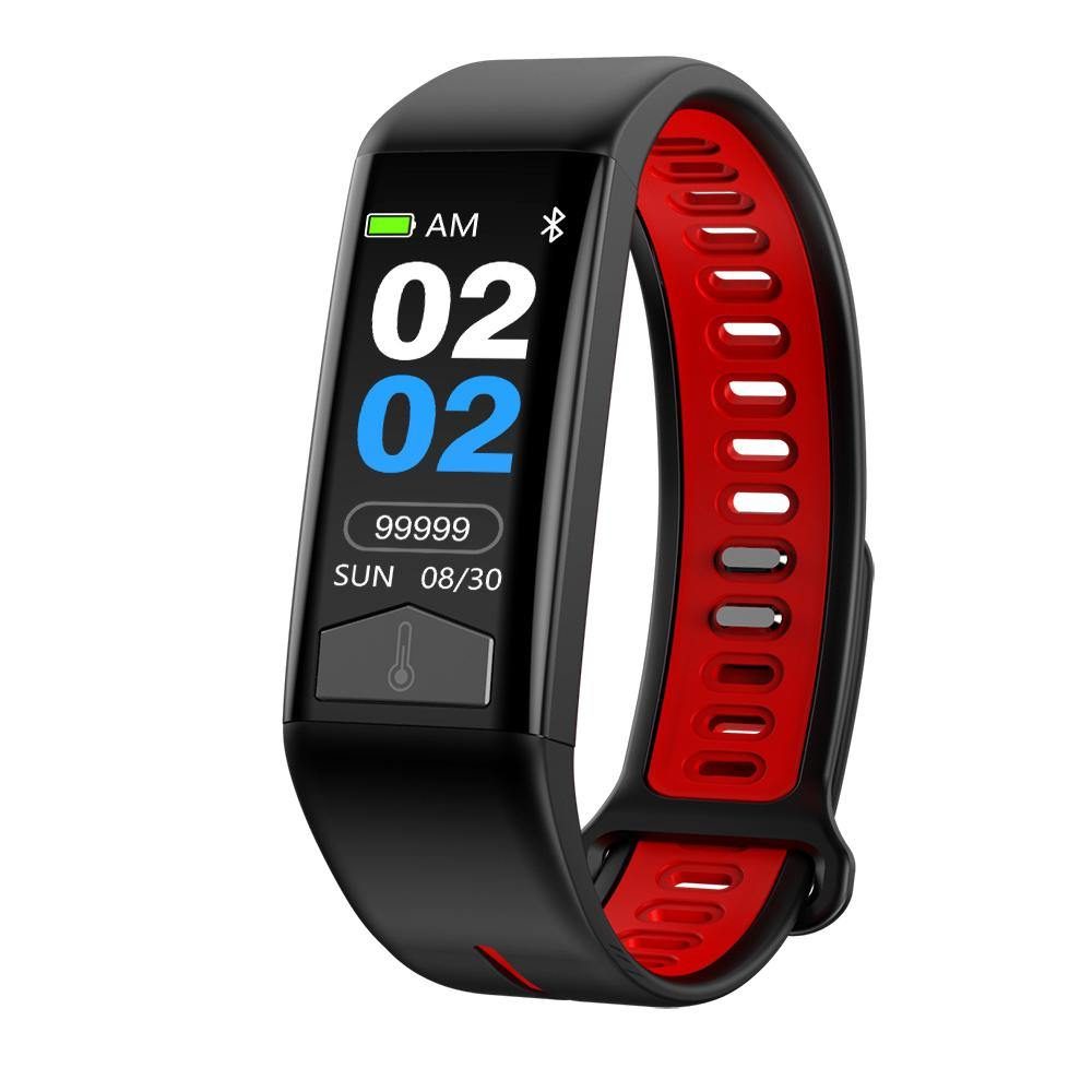 Microwear T02 Smart Fitness Bracelet Watch - Red Silicon