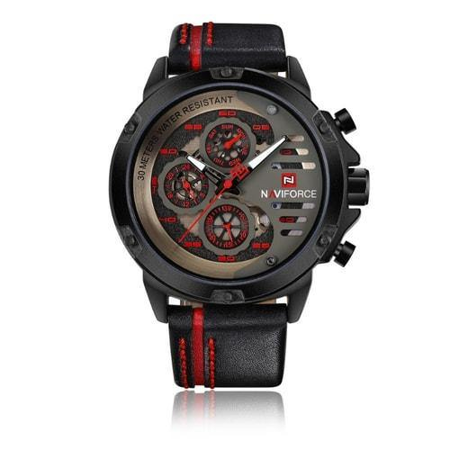 NaviForce 9110 Red & Black Executive Leather Watch-NaviForce South Africa-Smael South Africa