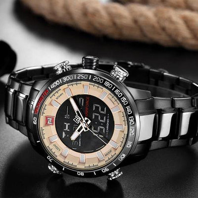 NaviForce 9093 Black and Beige Digital/Analog Executive Watch-NaviForce South Africa-Smael South Africa