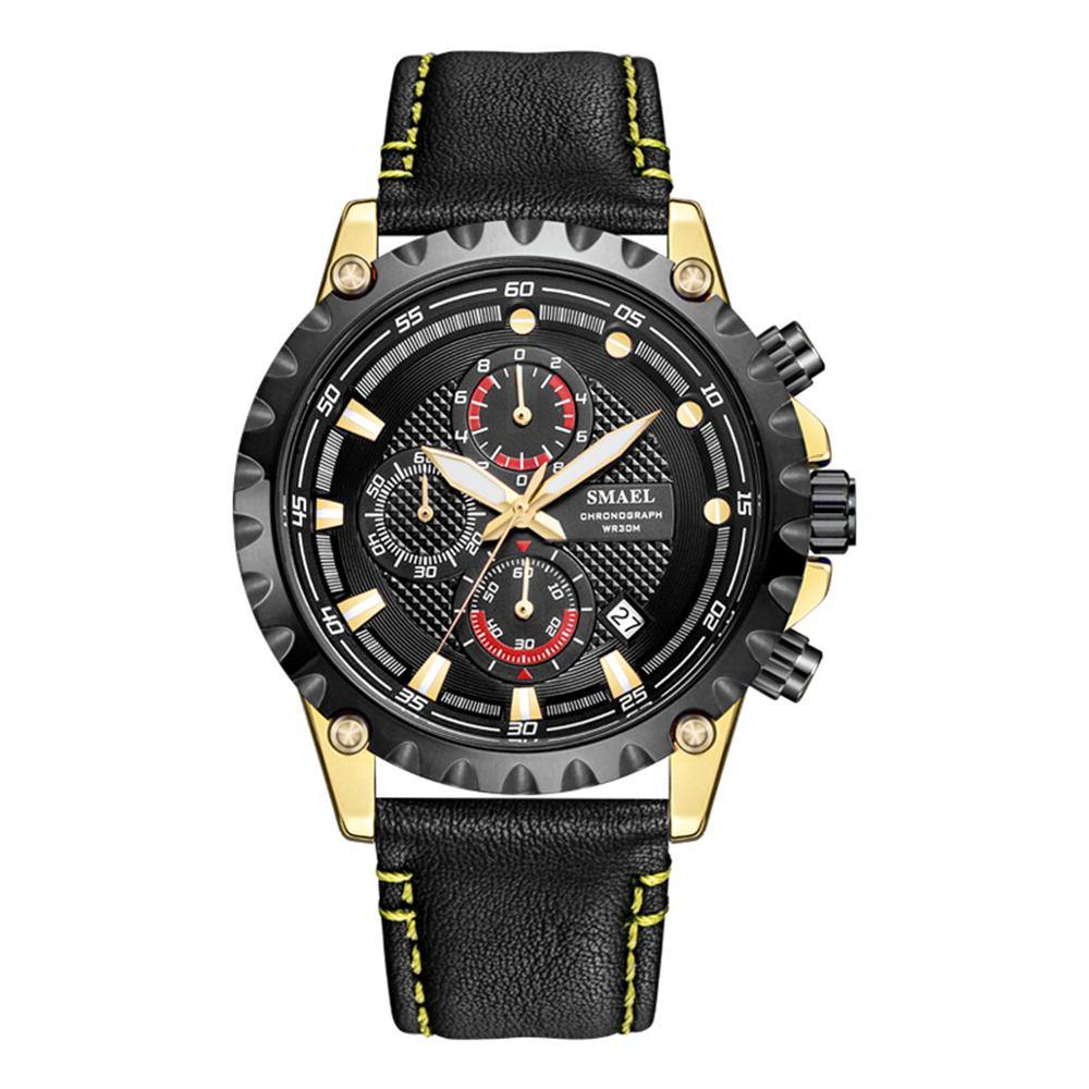 Smael 9105 Leather Watch - Black Gold