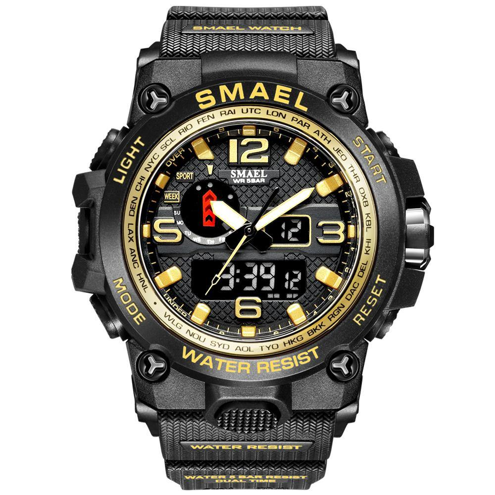 Smael 1545D Gold Multifunctional Watch