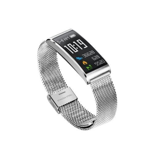 Microwear X3 Smart Fitness Bracelet Watch- Silver Mesh