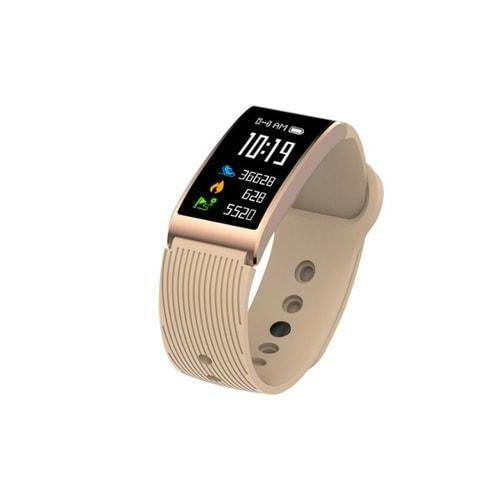 Microwear X3 Smart Fitness Bracelet Watch - Gold Silicon