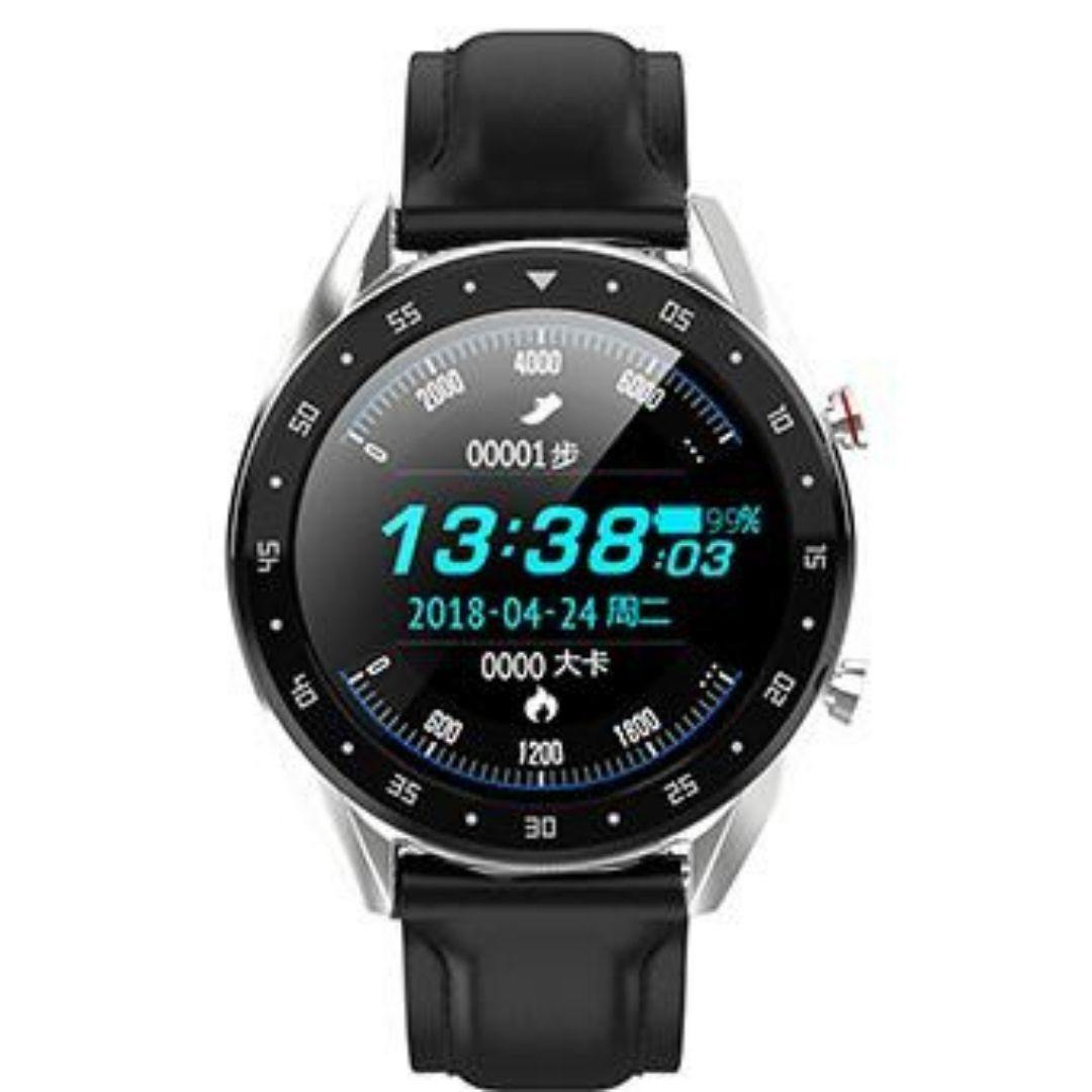 Microwear L7 Fitness/Smartwatch -Black Leather -Silver Back