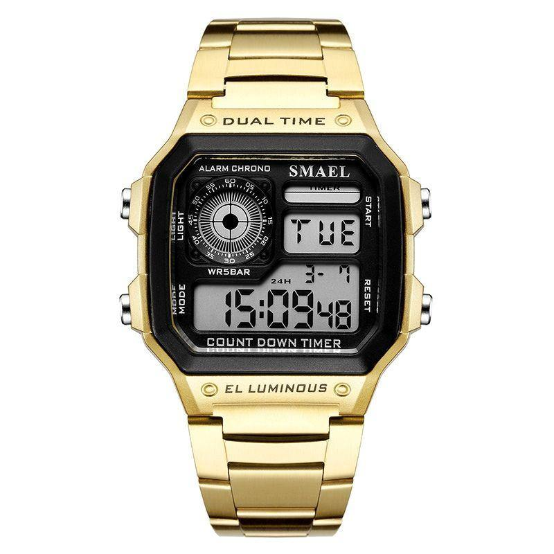 Smael 1818 Retro Style Watch - Gold
