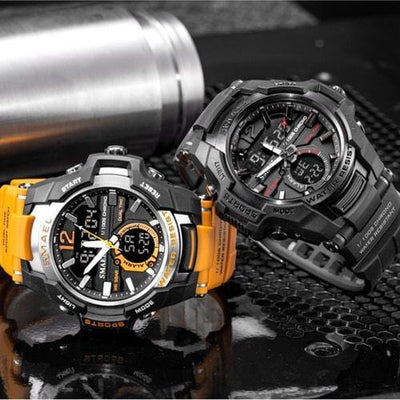 Smael Black Alloy Dual Time Watch