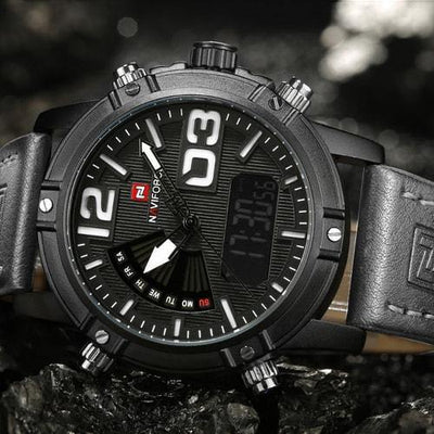 NaviForce Black & White 9095 Leather Watch-NaviForce South Africa-Smael South Africa