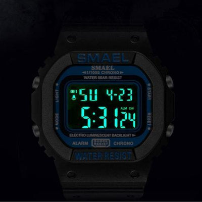 Smael Black & Orange Retro Digital Watch