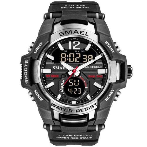 Smael Silver Alloy Dual Time Watch