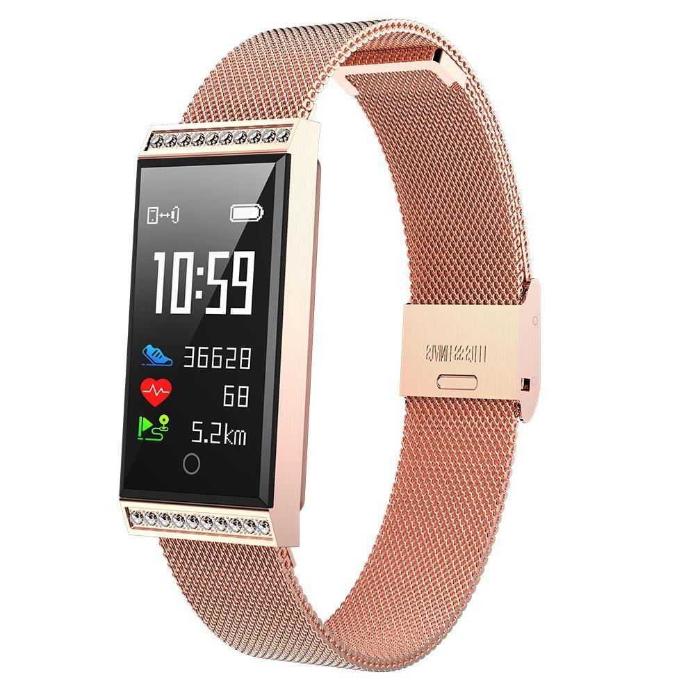 Microwear X11 Smart Fitness Bracelet Watch - Gold Mesh