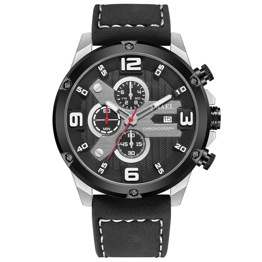 Smael 9082 Leather Watch - Black