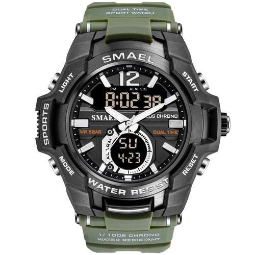 Smael Army Green Alloy  Dual Time Watch
