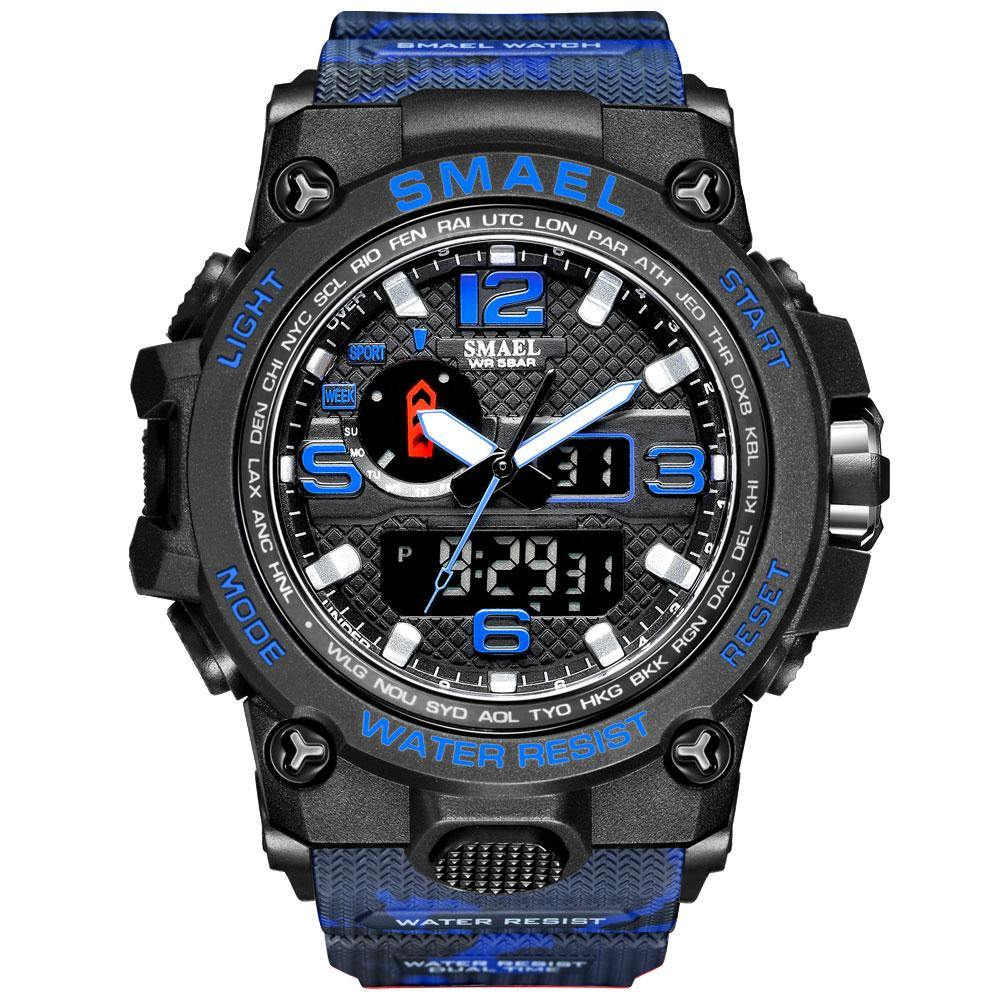 Smael 1545D Camouflage Blue Multifunctional Watch