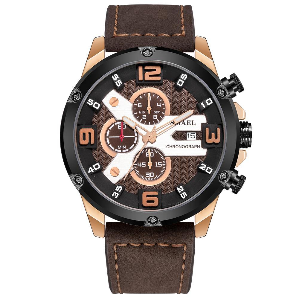 Smael 9082 Leather Watch - Coffee