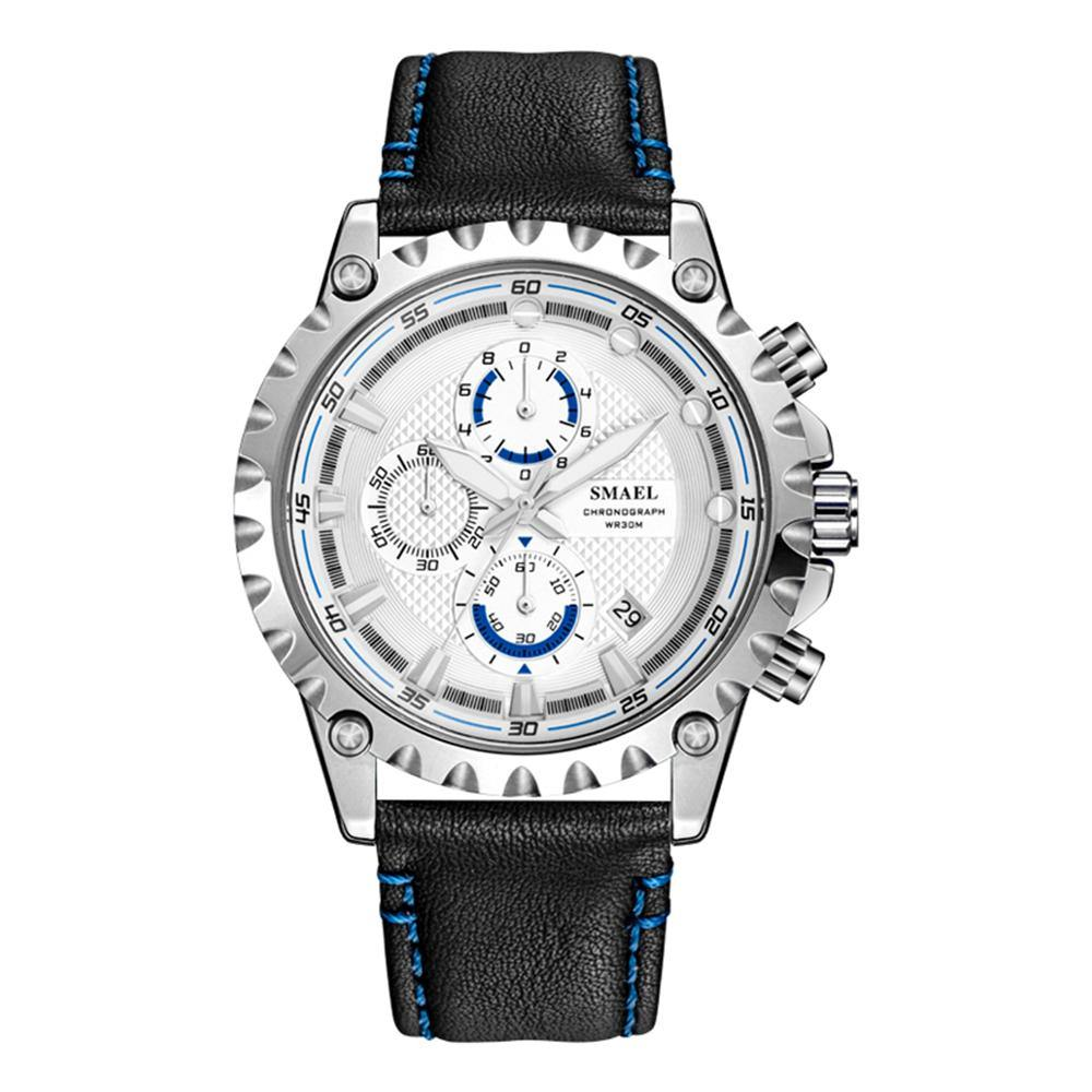 Smael 9105 Leather Watch - Silver Blue - Smael South Africa